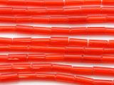 Red Glass Tube Beads 10-12mm (T817)