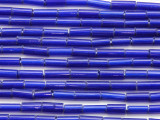 Cobalt Blue Glass Tube Beads 10-14mm (T818)