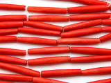 Red Tube Bone Beads 35mm (B1344)