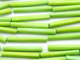 Lime Green Tube Bone Beads 35mm (B1349)