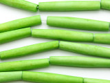Lime Green Tube Bone Beads 35mm (B1357)