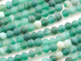 Matte Teal Green Agate Gemstone Beads 6mm (GS4662)