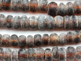 Frosty Brown Rondelle Recycled Glass Beads 9-12mm - Indonesia (RG636)