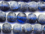 Frosty Cobalt Blue Recycled Glass Beads 15mm - Indonesia (RG645)