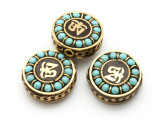 Turquoise & Brass Om Tibetan Bead 21mm (TB572)