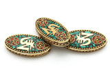 Turquoise, Coral & Brass Om Tibetan Bead 55mm (TB574)