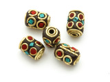 Turquoise, Coral & Brass Tibetan Bead 13mm (TB586)