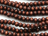Russet Brown Round Wood Beads 6mm (WD981)