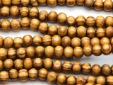 Swirled Round Wood Beads 6mm (WD983)