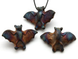 Flying Bat Raku Ceramic Pendant 34mm - Peru (CER172)