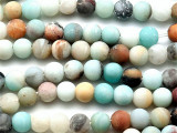 Matte Black Gold Amazonite Round Gemstone Beads 8mm (GS4719)