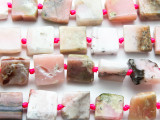 Pink Opal Square Tabular Gemstone Beads 14-16mm (GS4725)