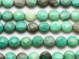Green Moss Opal Faceted Round Tabular Gemstone Beads 10mm (GS4736)
