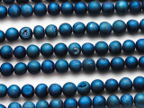 Blue Electroplated Druzy Agate Round Gemstone Beads 6-7mm (GS4760)