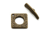 Brass Pewter Hammered Toggle Clasp 22mm (PB863)