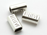 Pewter Bead - 'Believe' Tube 22mm (PB865)