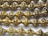 Ornate Brass Bicone Beads 18mm - Ghana (ME5712)