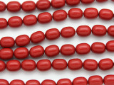 Red Bamboo Coral Oval Barrel Beads 11mm (CO567)