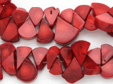 Red Bamboo Coral Teardrop Beads 12-22mm (CO570)