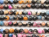 Black & Multi-Color Agate Faceted Round Gemstone Beads 6mm (GS4778)