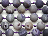 Purple Electroplated Druzy Agate Round Gemstone Beads 16mm (GS4799)