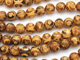 Rusty Tan Tibetan Agate Round Gemstone Beads 10mm (GS4805)