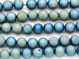 Blue Electroplated Druzy Agate Round Gemstone Beads 10mm (GS4806)