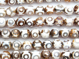 White & Tan Tibetan Agate Round Gemstone Beads 10mm (GS4807)