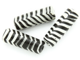 Black & White Stripes Tube Glass Bead 40-44mm (CB549)