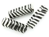 Black & White Stripes Tube Glass Bead 40-44mm (CB549)