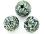 Blue & Green Flowers Round Glass Bead 20-24mm (CB551)