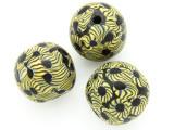 Black & Yellow Flowers Round Glass Bead 25-28mm (CB564)