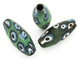 Green, Blue & White 'Eye' Ellipsoid Glass Bead 36-40mm (CB567)