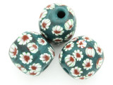 Teal w/White & Red Flowers Round Glass Bead 22-25mm (CB574)