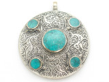 Afghan Tribal Silver Pendant - Turquoise 48mm (AF879)