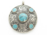Afghan Tribal Silver Pendant - Turquoise 48mm (AF894)