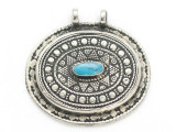 Afghan Tribal Silver Pendant - Turquoise 46mm (AF895)
