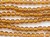 Amber Yellow w/White Center Round Glass Beads 8mm (JV1272)