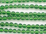 Green w/White Center Glass Beads 8mm (JV1275)