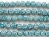 Blue Chain Design Glass Beads 11mm (JV1277)