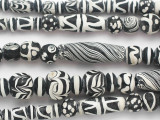 Black & White Painted Glass Beads 4-37mm (JV1281)