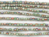 Mint Green w/White, Red & Blue Stripes Glass Beads 5mm (JV1284)