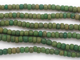 Antiqued Green Graduated Glass Beads 6-9mm (JV1310)