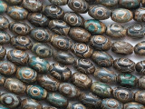 Teal & Brown Tibetan Agate Barrel Gemstone Beads 12mm (GS4819)