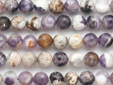 Chevron Amethyst Faceted Round Gemstone Beads 10mm (GS4829)