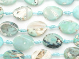 Turquoise Blue Agate Oval Twist Gemstone Beads 25mm (GS4855)