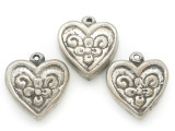 Silver Plated Brass Heart Amulet 36mm (AP2040)