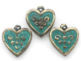 Brass & Turquoise Heart Amulet 36mm (AP2041)