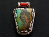 Turquoise, Coral & Sterling Silver Tibetan Pendant 35mm (TB600)