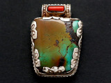 Turquoise, Coral & Sterling Silver Tibetan Pendant 34mm (TB602)